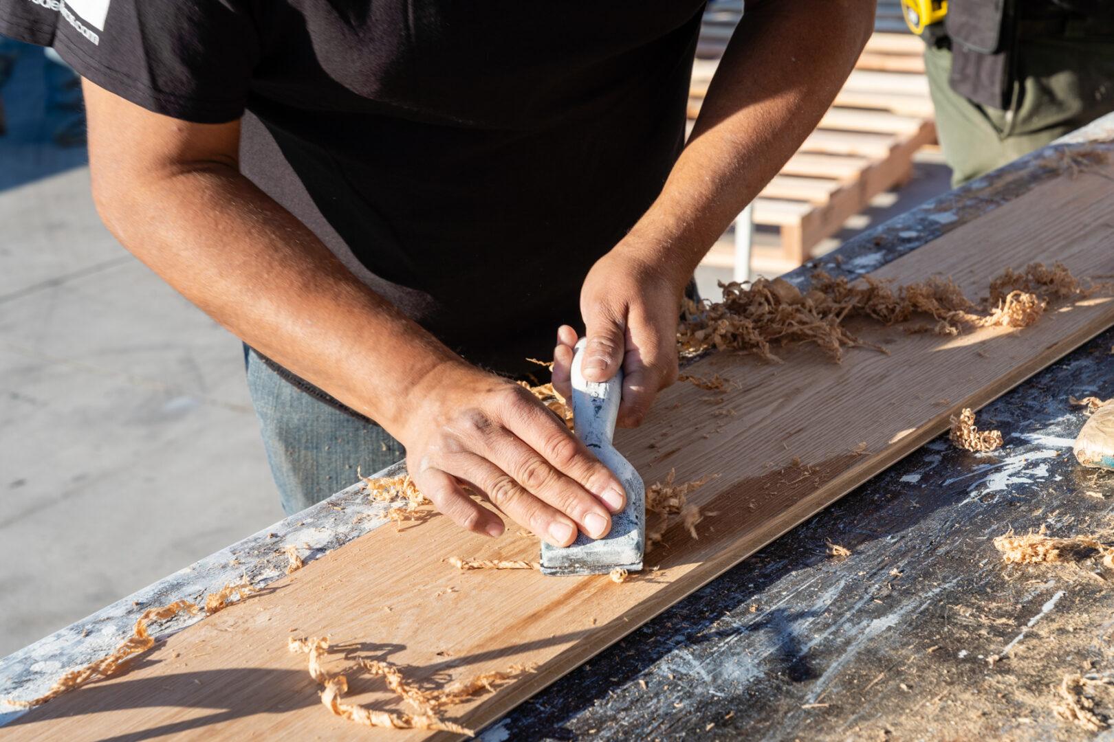 Hardwood being carved